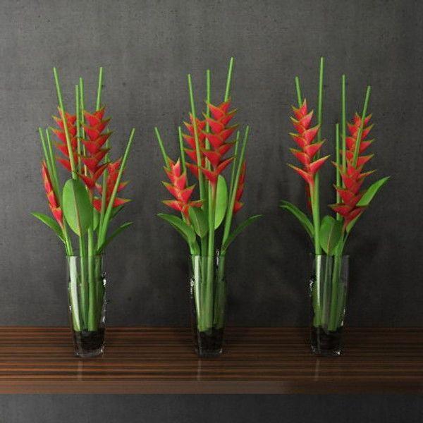 simple tropical heliconias table arrangements