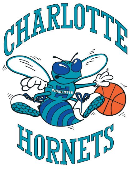Charlotte Hornets Primary Logo (1990) - A Hornet dribbing a basketball surrounded by script name