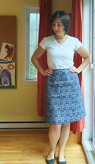 Skirt; made from vintage Butterick 3509 (1960s), using shwe shwe from Cape Town, South Africa.