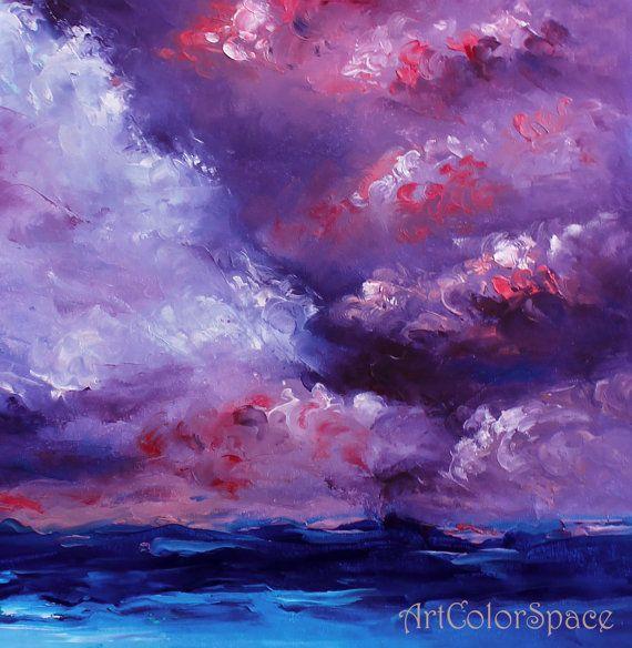 Vista sul mare astratta olio su tela arte pittura di ArtColorSpace