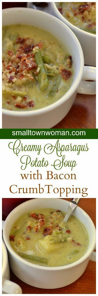 This Creamy Asparagus Potato Soup is bursting with fresh asparagus, baked russet potatoes, cream and garlic.  It is topped with a three ingredient bacon crumb topping that is out of this world delicious.