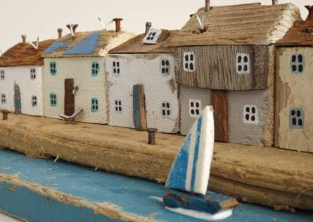 Driftwood Sculpture of Cornish Cottages