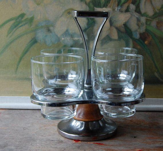 midcentury bar glasses set