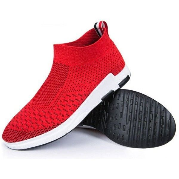 Flyknit Mesh Fabric Breathable Sock Trainers Sport Casual Sneakers (49 NZD) ❤ liked on Polyvore featuring men's fashion, men's shoes, men's sneakers, mens slip on shoes, mens mesh shoes, mens slipon shoes, mens sports shoes and mens black sneakers