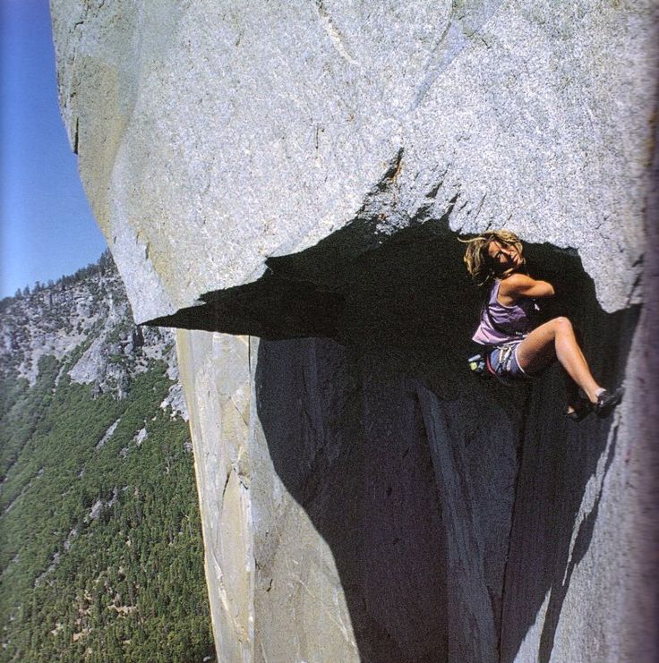 First person to ever free the nose on El Capitan in Yosemite, Lynn Hill.