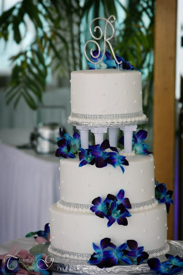 Blue Orchids and Diamond studded wedding cake.  Imperial Ballroom.  Grand plaza Resort.  St Pete Beach, Florida