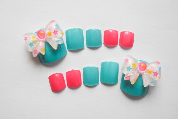 Candy Bow Fake Nails Cotton Candy Nails Fake Toenails by niceclaws
