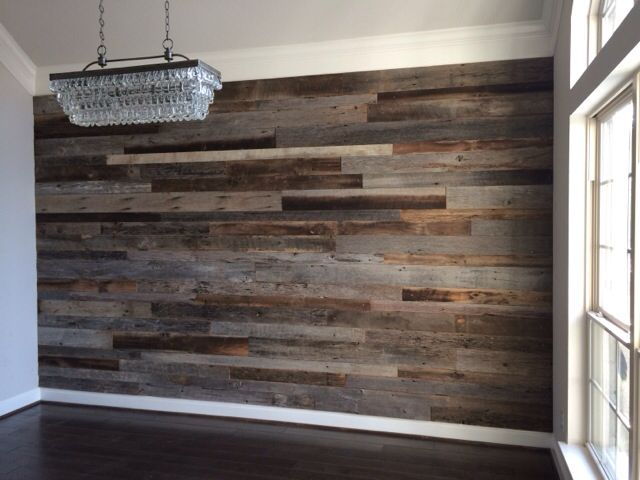 close up of the dining room reclaimed wood accent wall before the furniture was moved back - Wood Wall Design Ideas