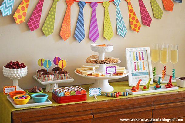 mesa dia dos pais, decora??o dia dos pais, gravata, brunch, festa ...