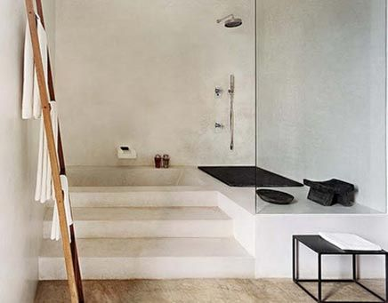 Minimalistic bathroom with different levels.