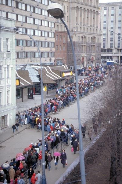 Opening of the first McDonald's in the Soviet Union, Moscow, 1991.