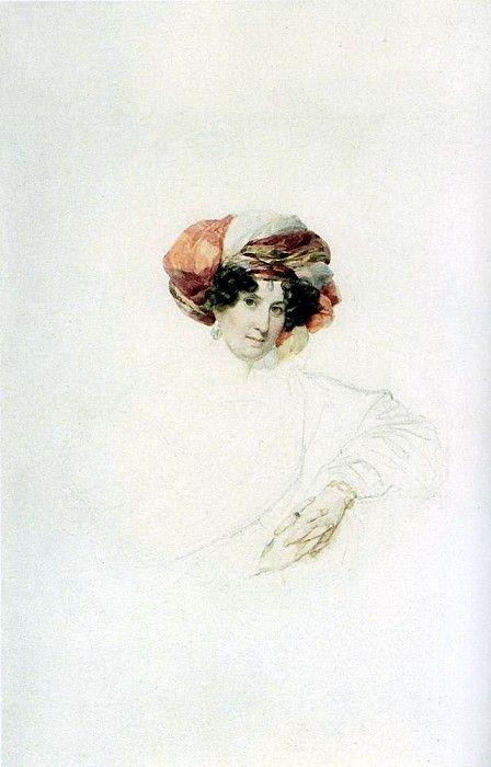 Портрет неизвестной в тюрбане. Около 1830. Карл Павлович Брюллов