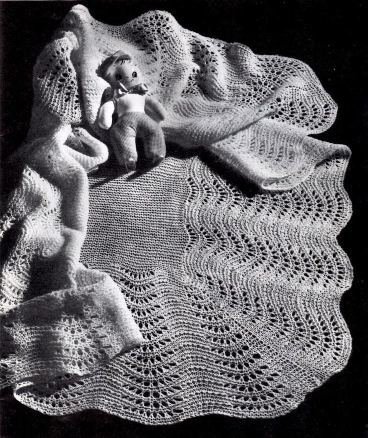 Vintage Knitting Pattern Fan Stitch Shawl Baby Blanket