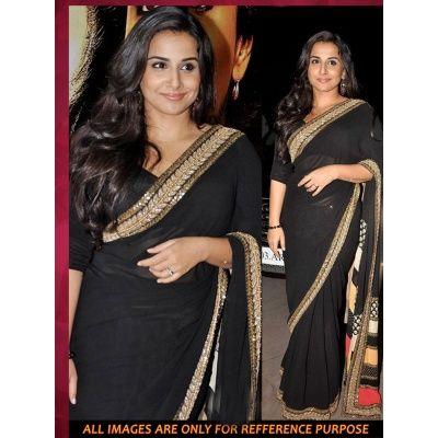 Vidya Balan Black Georgette Bollywood Saree