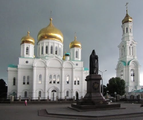Russia, Rostov-on-Don: Monument Dmitry Rostovsky and Cathedral of the Nativity of the Blessed Virgin Mary