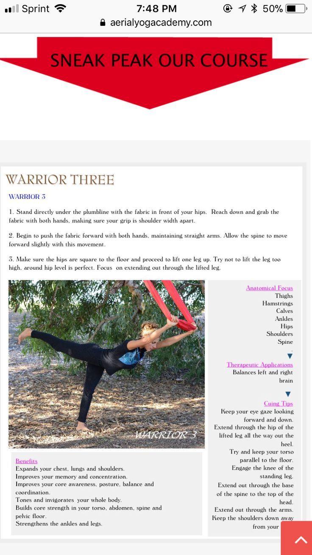 Aerial yoga  warrior three  Yoga Warrior  Pinterest  Aerial yoga