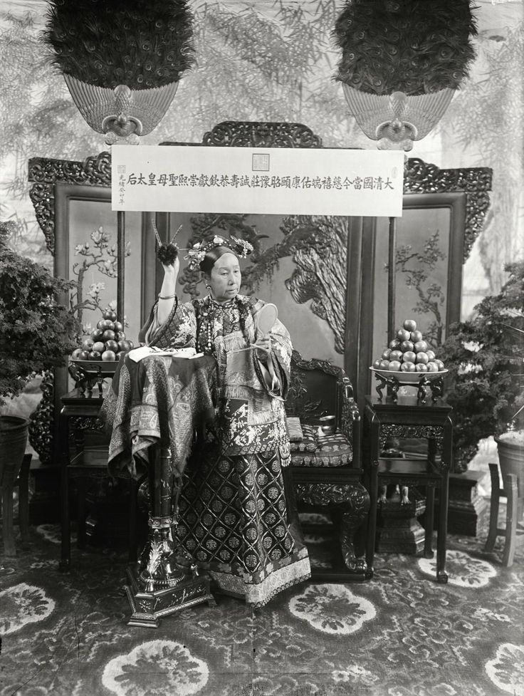 Portrait of the Empress Dowager Cixi, ca.1903-05. Empress Dowager Cixi or Empress Dowager Tzu-hsi  (29 November 1835 – 15 November 1908), of the Manchu Yehenara clan, was a powerful and charismatic woman who unofficially but effectively controlled the Manchu Qing Dynasty in China for 47 years, from 1861 to her death in 1908.    http://semioticapocalypse.tumblr.com