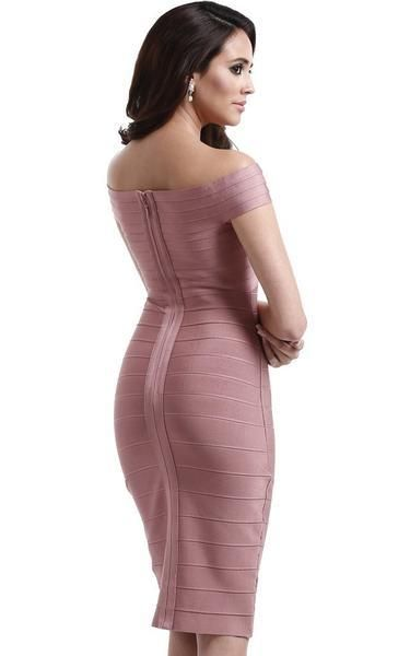 d7a65ecdebf7 This pink off the shoulder dress has a feminine criss-cross neckline. It  shows off your shoulders and frames your face. The sheath-like fit slims  and ...