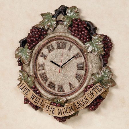 Live Love Laugh Grapes Wall Clock