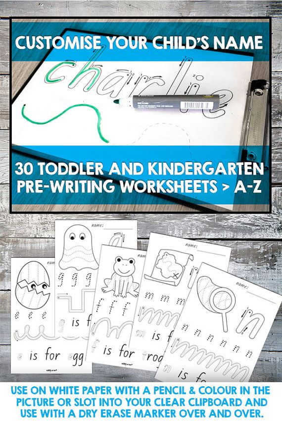 Customised Name and Toddler and Kindergarten pre-handwriting worksheets - print and colour in or laminate and use with dry erase markers. #teacher #resource #kindergarten #toddler