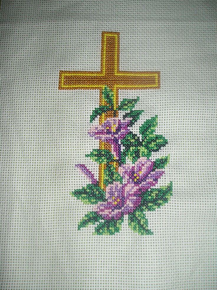kříž s liliemi,E.Hladíková