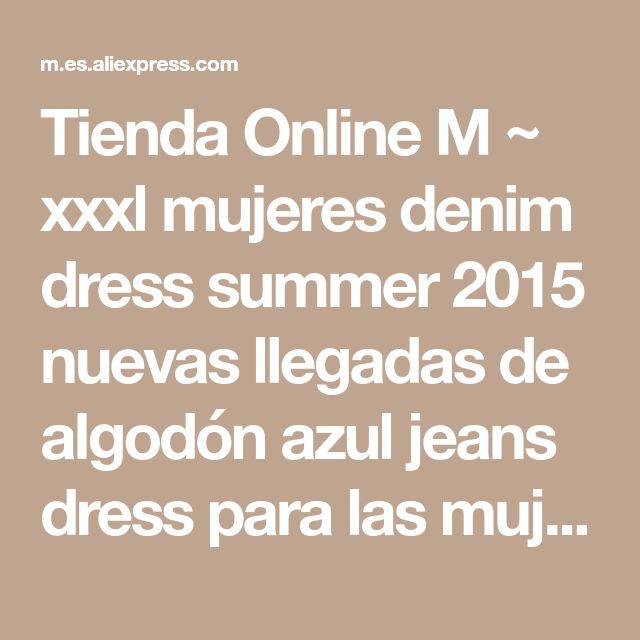 Tienda Online M ~ xxxl mujeres denim dress summer 2015 nuevas llegadas de algodón azul jeans dress para las mujeres con cuello en v gran tamaño vestidos tienda online ropa | Aliexpress móvil