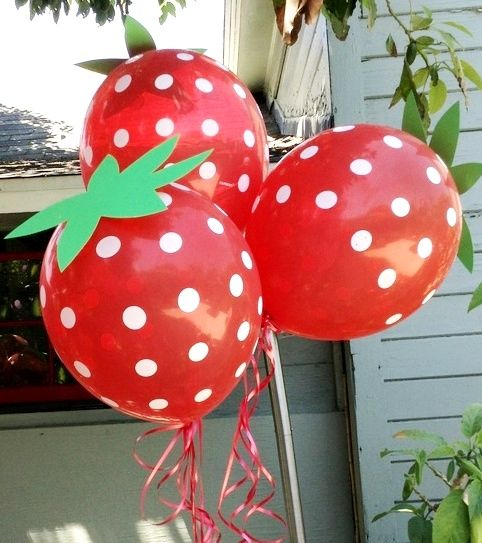 "Such a cute idea - make ""strawberry"" balloons with red polka dot balloons and green paper/cardstock ""stems""!"