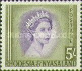 Rhodesia and Nyasaland, 1.7.1954, Queen Elizabeth II. No.14 5Sh olive/violet. Stamped 81,06 USD, Mint Condition 405 USD.