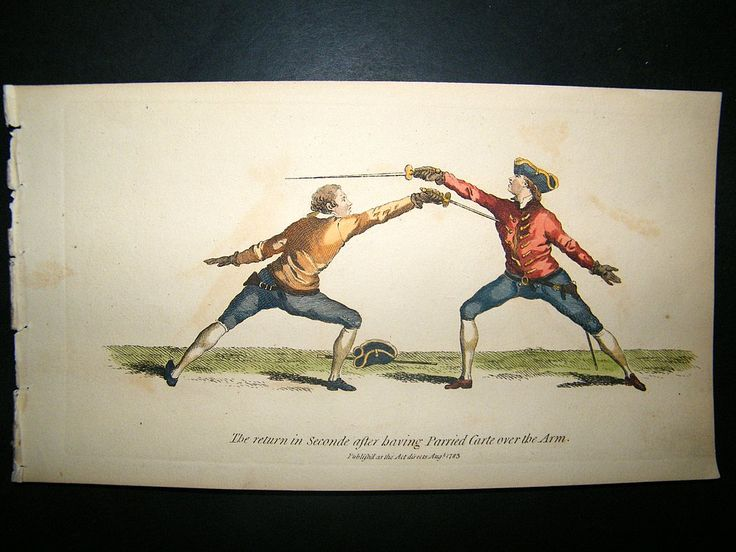 Angelo Sword Fencing 1787 Hand Col Print. Return in Seconde. | Albion Prints