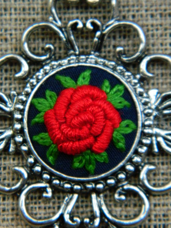 Flower Hand Embroidered Jewelry - filigree vintage rose pendant in gothic style - unique gift for yourself and each women