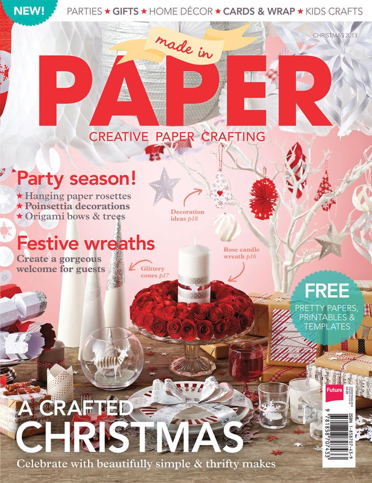 New! Made in Paper magazine - Christmas, devoted to stylish paper crafting for the home, parties and more. Get your copy at http://www.myfavouritemagazines.co.uk/stitch-and-craft-bookazines/made-in-paper-2/