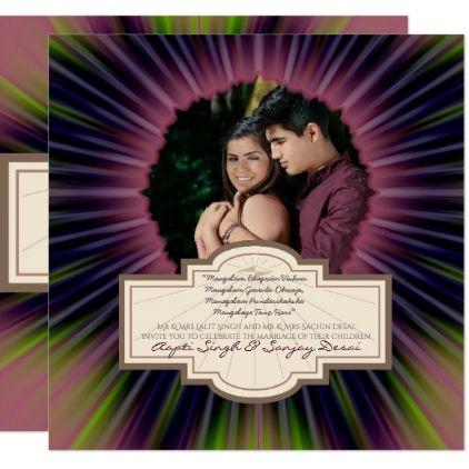 ADD PHOTO Hindu Wedding Invitation Purple Lime - marriage gifts diy ideas custom