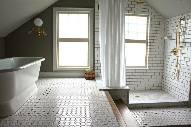 Two level period bathroom.