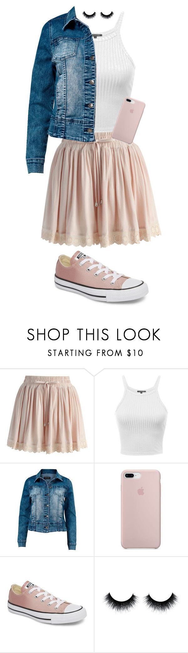 """SPRING!!"" by egforkner ❤ liked on Polyvore featuring Chicwish, Venus, Converse and plus size clothing"