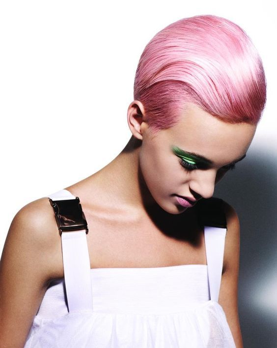 Pixie #Hairgoals! Use Suavecita Pomade for a slick back look. Just simply add a generous amount into your hands and work it through the hair. Use a comb to style as desired. #Suavecitapomade #Suavecita #Pomade #Hair #Hairstyle #Style #Pixie #Haircut #Cut #Pinkhair #Pink #Haircolor #Color #Sleek #Slick #Love #Beauty #Hairproducts #Products