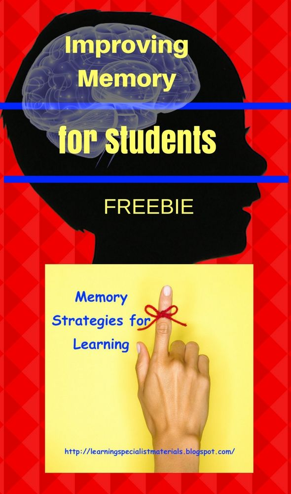 Improving Memory for Students Freebie   One of the best ways to help your struggling learners is to teach them memory strategies because many students have not learned effective techniques for encoding information. I would love to share with you a free download on my blog that you can use with your learners. Click here to download this freebie today.  Cheers  Dr. Erica Warren  improve memory learning memory memory strategies