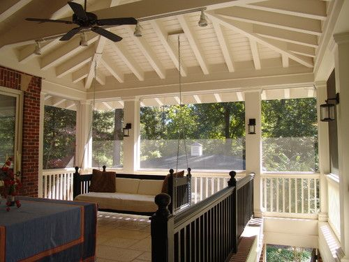 Screened porch ideas love the hipped roof and exposed for Craftsman screened porch