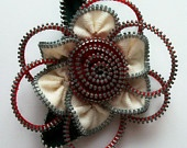 White and Red Floral Brooch / Zipper Pin by ZipPinning 2461