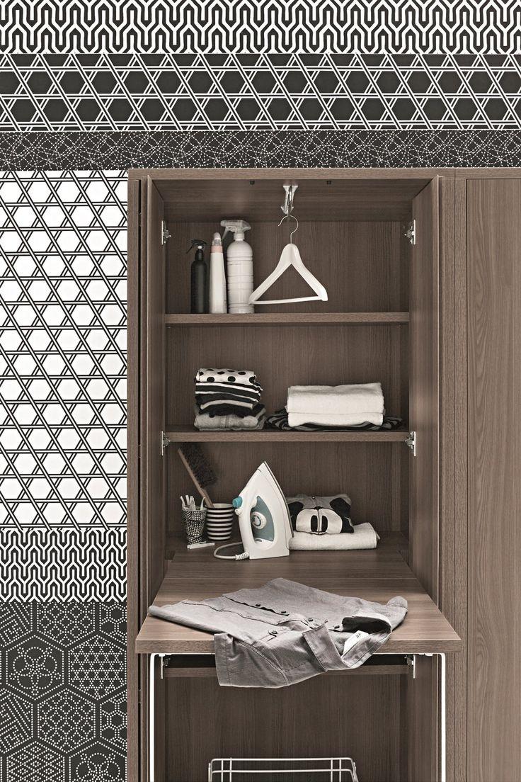 Armário para lavanderia alto de olmo para máquina de lavar ACQUA E SAPONE Coleção Acqua e Sapone by Birex | design Monica Graffeo