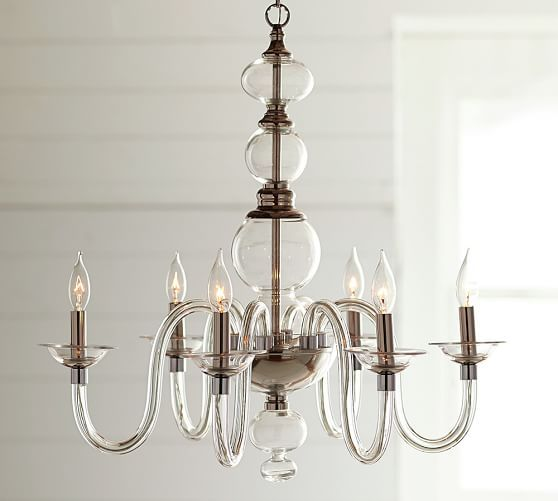Blown Glass Chandelier | Pottery Barn. Perfect for above kitchen table.