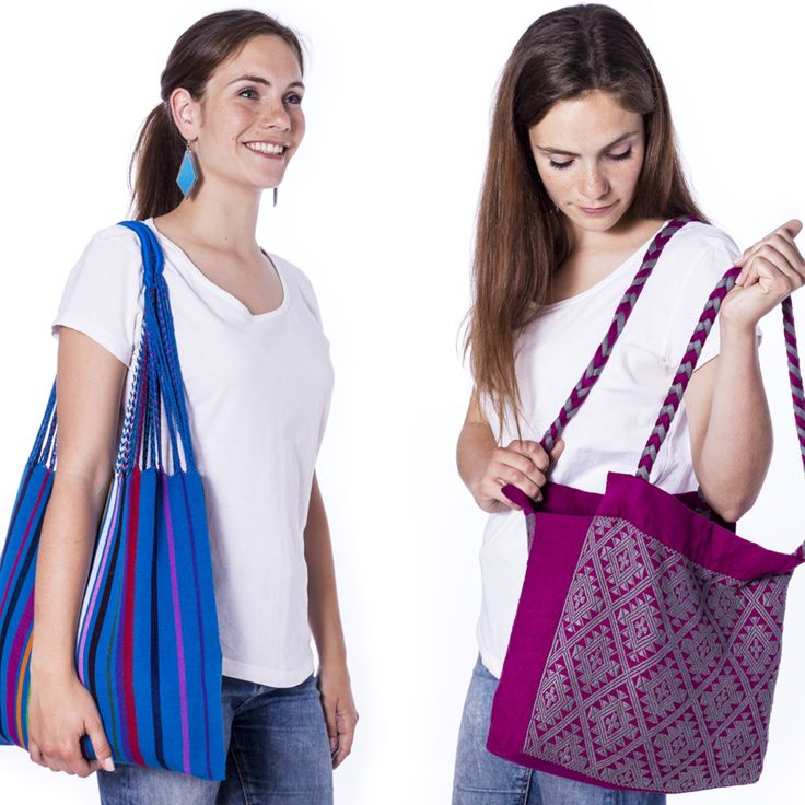 Die wunderschönen und farbenfrohen Beutel und Taschen aus Mexiko sind handgewebt am traditionellen Webstuhl und halten wahnsinnig viel aus!
