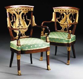 A PAIR OF RUSSIAN NEOCLASSIC STYLE MAHOGANY AND PARCEL-GILT