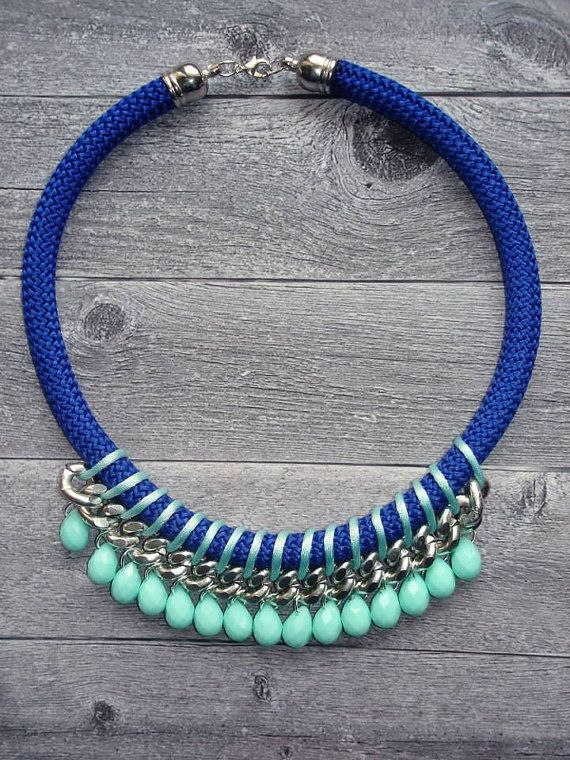 Sea blue Statement Rope Necklace / Rope Necklace / Statement Necklace / Summer necklace/ Braided rope necklace
