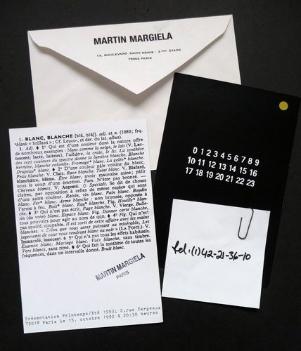 Maison Martin Margiela' Fashion Show Invites 1992 93