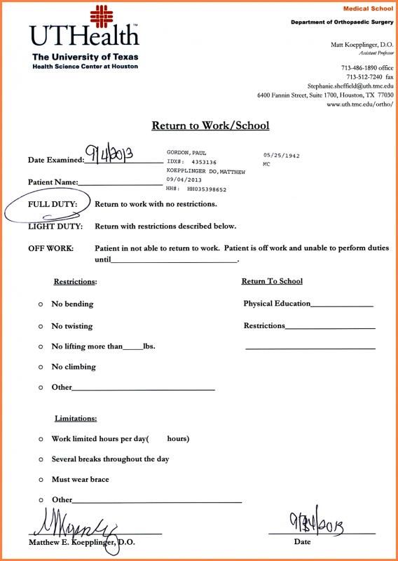 Dr Note For Work Doctors Note Template Doctors Note Dr Note