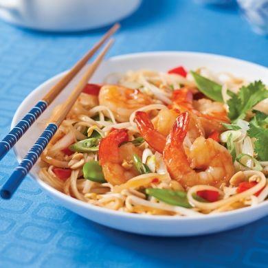 Pad thaï aux crevettes - Soupers de semaine - Recettes 5-15 - Recettes express 5/15 - Pratico Pratiques