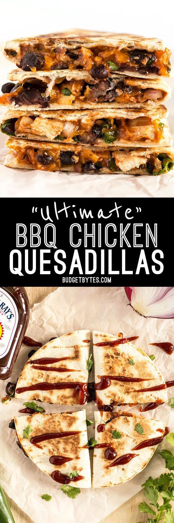 These Ultimate BBQ Chicken Quesadillas are packed with colorful ingredients and deliciously tangy Sweet Baby Ray's BBQ sauce! #ad @budgetbytes