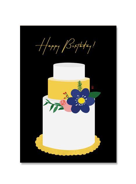 생일 케이크 일러스트 엽서+봉투