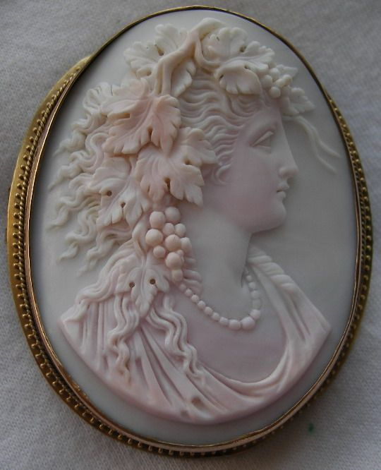 """""""Bacchante"""" Pink Shell Cameo in 15k Gold Frame, Italy, circa 1840-1850. Frame could be English."""