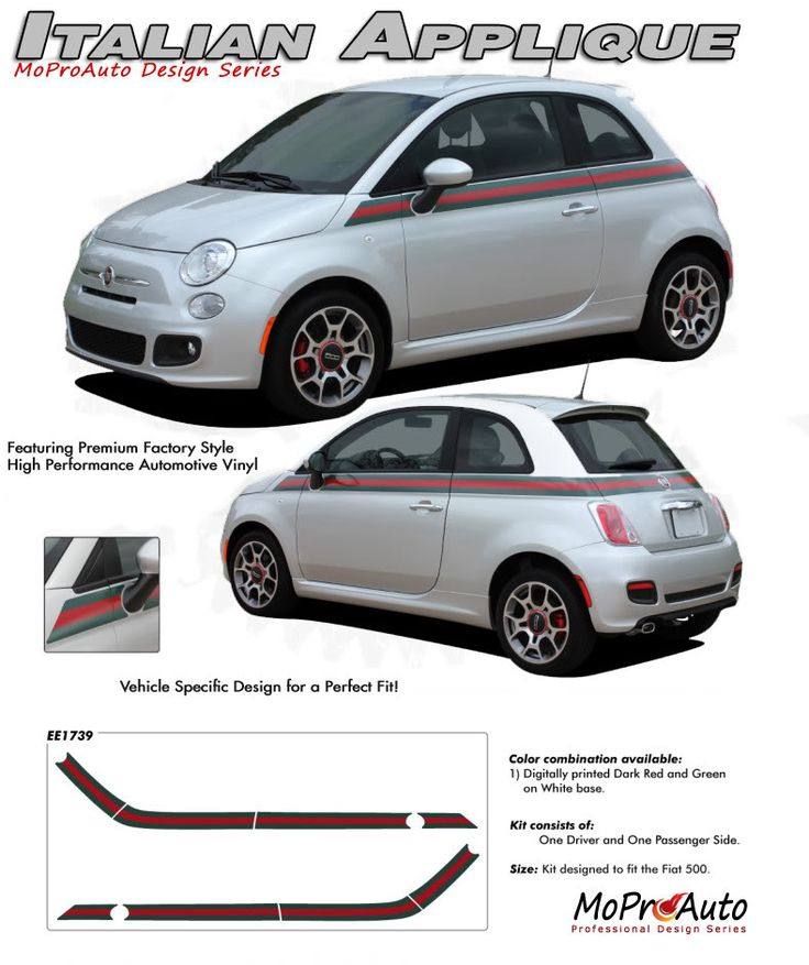 "2011 2012 2013 SE 5 ITALIAN GUCCI STRIPE : ""Gucci Style"" Fiat 500 Vinyl Graphics Kit Vinyl Graphics Decals Striping Kit ""Factory OEM Style"" with Professional Automotive Vinyl at a Discount Price!"
